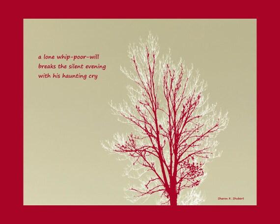 Whip Poor Will Haiku Poetry Art Bird Poetry 8 X 10 Print