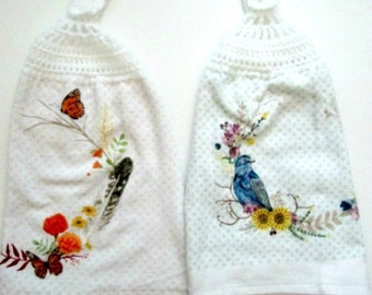 two crochet top towels bird double hanging kitchen hand towel - Kitchen Hand Towels