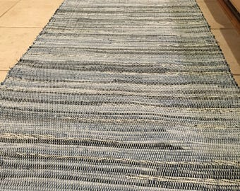 "Handcrafted Denim w/ stripe overall accents rag rug 25"" x 64"""