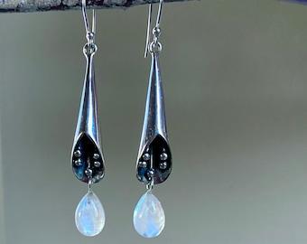 Raw Stone Earrings Mixed Metal Earrings Silversmith Bolder Chrysoprase Earrings Chrysoprase Sterling Silver Earrings CLEARANCE