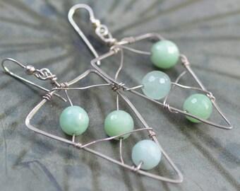 Green Jade Earrings. CLEARANCE. Sterling Silver Mint Green  Earrings. Hand Forged Wire Wrapped Gemstone Geometric Earrings.