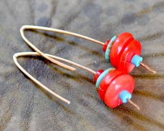 Red Coral Earrings. Sterling Silver Earrings. Coral Disk Stack Earrings. Coral - Turquoise Gemstone Hoops. Coral Silver Hoops.