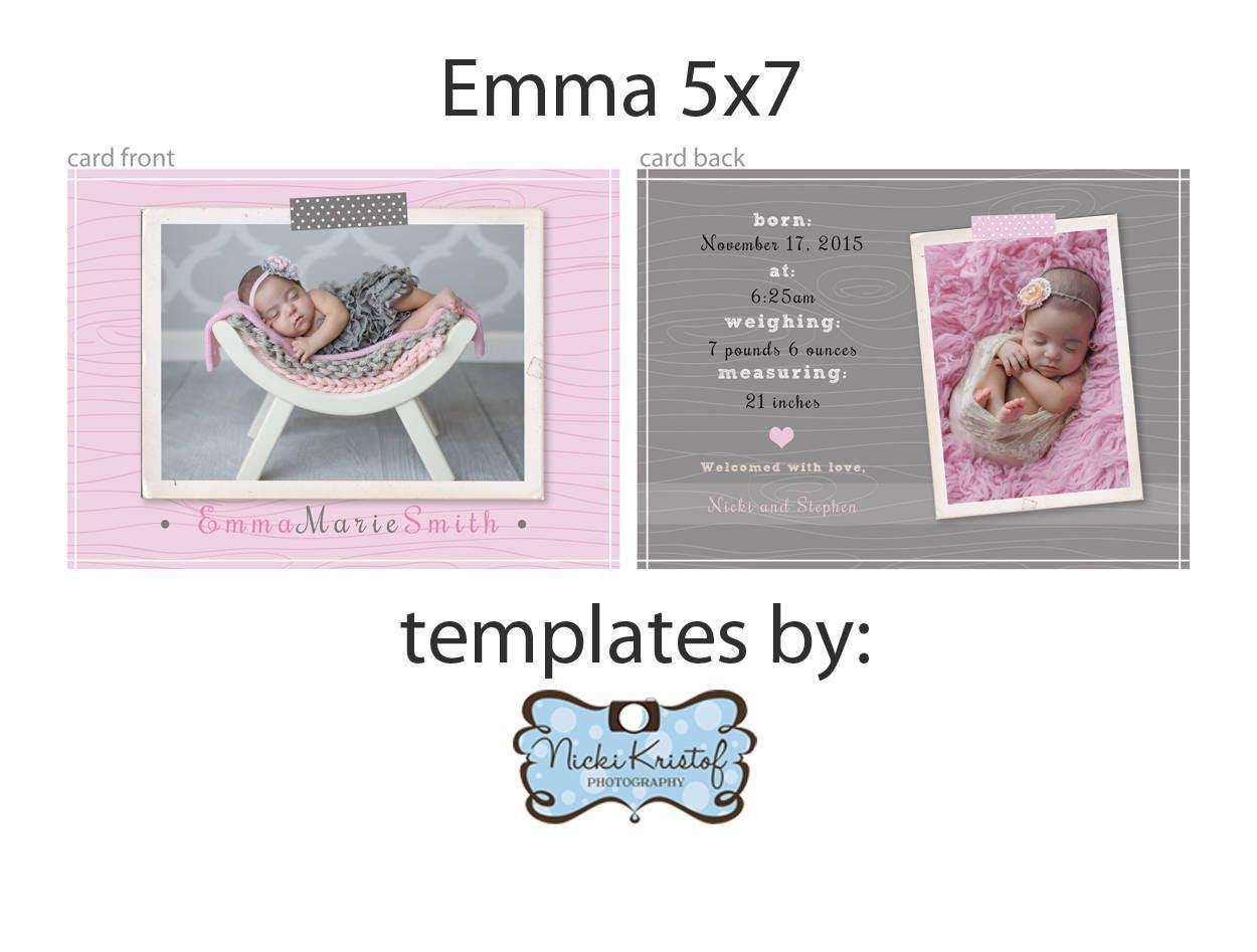 5x7 custom PS Birth Announcement Template girl PHOTOSHOP   Etsy