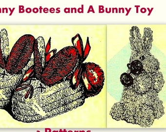 Easter Bunny Bootees and Bunny Toy (2) Crochet Pattern 723055