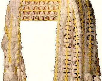 Hairpin Lace Shawl Stole Wrap Crochet Pattern 725002