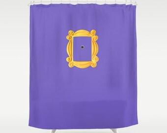 Friends Shower Curtain, Home Decor, Purple + Gold Bathroom Decor, Best Friends Gift, Friends, New Apartment Decor