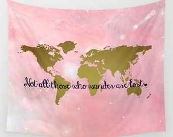 Pink map tapestry etsy faux gold foil world map wall tapestry wall hanging world map decor home decor world map art map of the world gold pink galaxy decor gumiabroncs Images