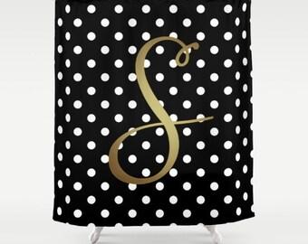 Monogrammed Shower Curtain Black White Polka Dot Gold Monogram Cute Bathroom Decor Girls