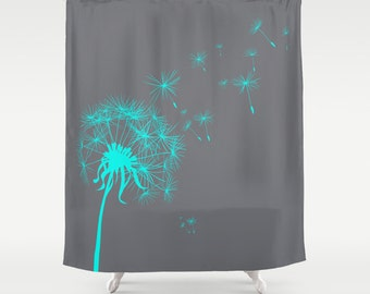 Custom Shower Curtain Gray Teal Dandelion Art Nature Home Decor Floral Bathroom Fabric