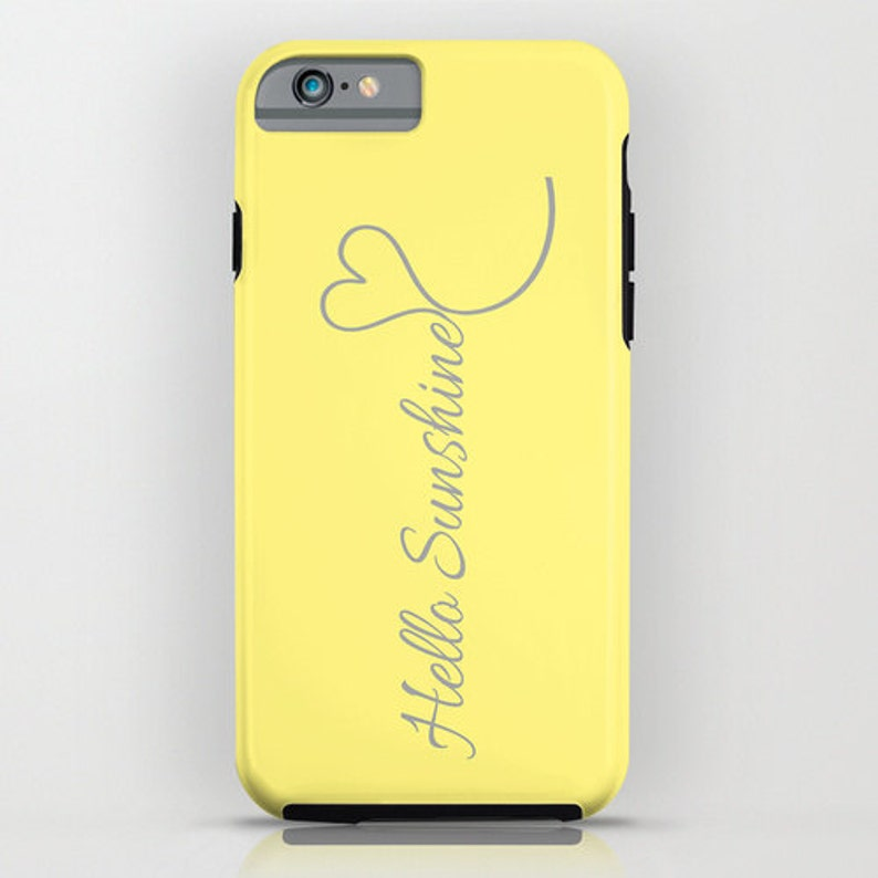 iPhone 7 Plus 8 Plus Case iPhone 12 Case Personalized Phone Case for Her Hello Sunshine Inspirational Gray Yellow iPhone Pro Max Case