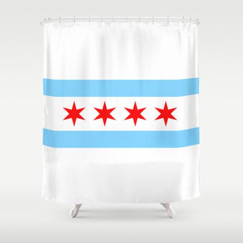 Chicago Flag Shower Curtain Custom Bathroom