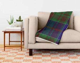 Plaid Throw Blanket Vintage Look, Plaid Blanket, Adult Blankets