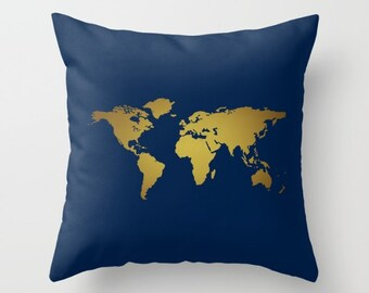 Navy Blue and Faux Gold Foil World Map Throw Pillow or Cover