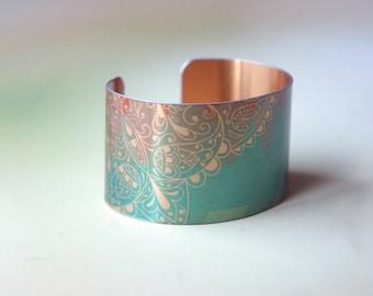 Women's Gold + Teal Geometric Metal Cuff Bracelet