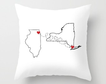 Two States Throw Pillow or Cover, Two States Love Custom Pillow Cover, Dorm Decor, Dorm Room Decor, Personalized Decor