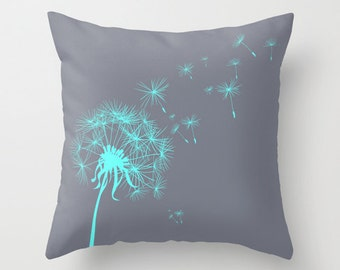 Gray and Teal Dandelion Throw Pillow or Cover