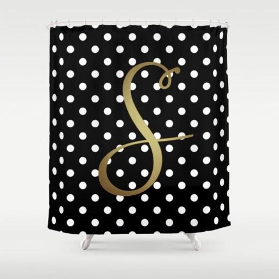 Monogrammed Shower Curtain Black White Polka Dot Gold