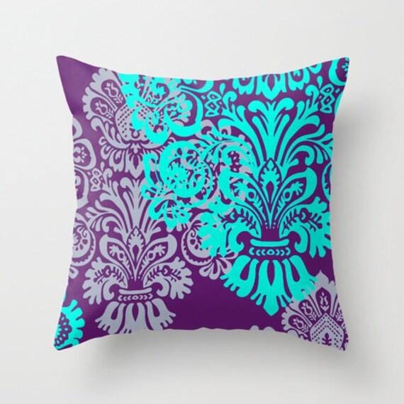 Jewel Tone Damask Pillow Cover Purple And Mint Lavender Etsy Impressive Jewel Tone Decorative Pillows