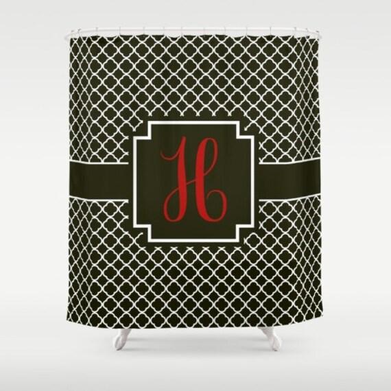 Monogrammed Shower Curtain Black White Quatrefoil Red