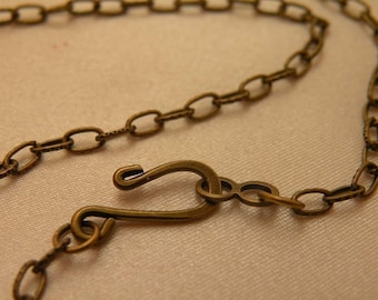"Dainty Antiqued Brass Flat Embossed Link 24"" Vintage Style Necklace Blanks 12 Chain Bulk Pack LiMiTeD StOcK"