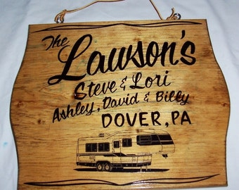 5th WHEEL RV Sign Personalized with Your Name