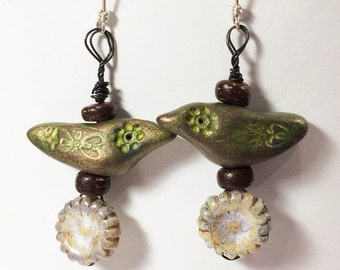 Polymer Clay Bird Earrings - Free Domestic Shipping