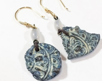 Stamped Clay Earrings, Polymer Clay Earrings, Faux Pottery Shard Jewelry - Free Domestic Shipping
