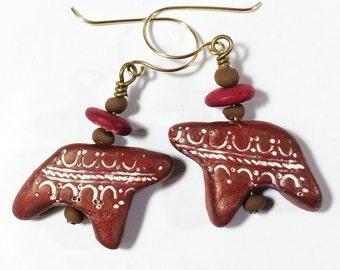 Bear Earrings, Polymer Clay Earrings - Free Domestic Shipping