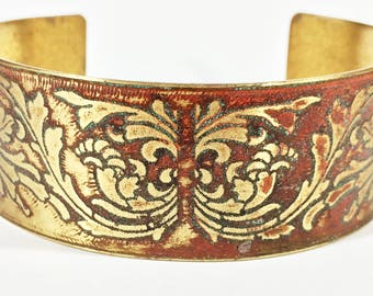 Etched Brass Cuff Art Deco Design Bracelet - Free Domestic Shipping