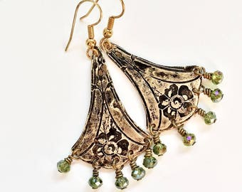 Etched Brass Earrings, Art Deco Earrings Green Beads - Free Domestic Shipping