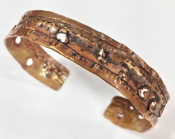 Copper Cuff Bracelet Distressed Metal - Free Domestic Shipping