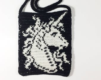 Tapestry Crochet Unicorn bag, Unicorn Purse,  Festival Bag, Medieval Handbag, Renaissance Purse - Free Shipping Domestic