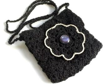 Black Evening Bag, Crochet Black Small Purse, Black Flower Purse - Free Shipping Domestic