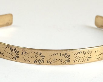 Etched Brass Skinny Cuff, Flower Bracelet - Free Domestic Shipping