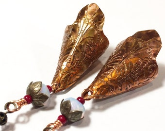 Etched Copper Cone Earrings - Free Domestic Shipping