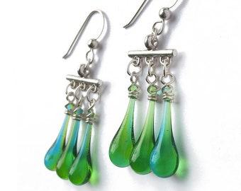 Blue green fringe earrings, made from sun-melted glass