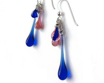 Red White and Blue dangling earrings, featuring sun-melted glass and recycled sterling silver
