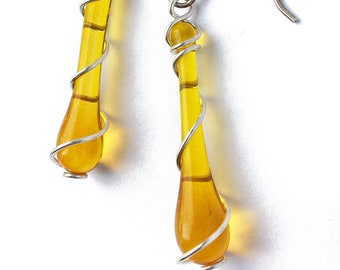Yellow Recycled Glass Earrings with Silver Spirals