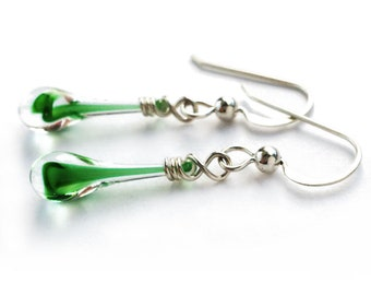 Swirling green teardrop earrings, featuring sun-melted glass and recycled sterling silver