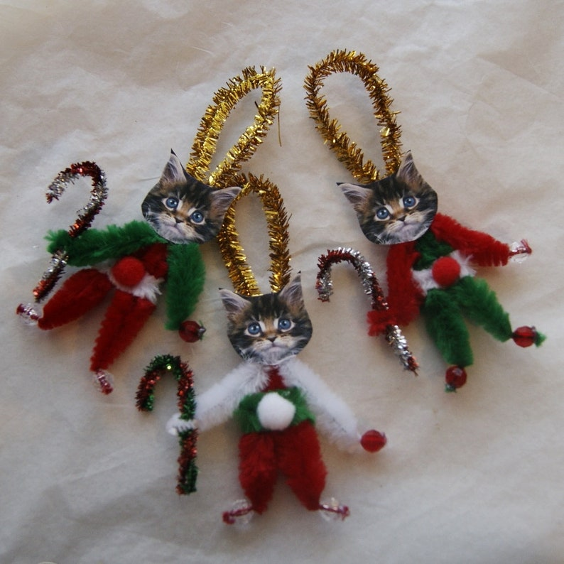 Primitive Vintage Style Christmas Elf Ornaments Chenille Feather Tree