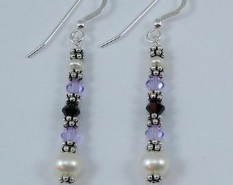 Violet and Deep Purple Swarovski Crystal and Pearl Earrings (E119b)