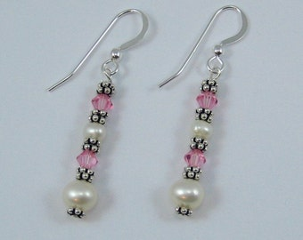 Light Pink Swarovski Crystal and Pearl Earrings (E115a)