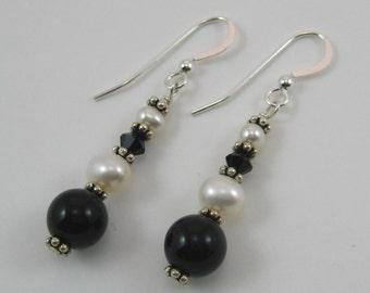Black Onyx and Swarovski Earrings (E49)