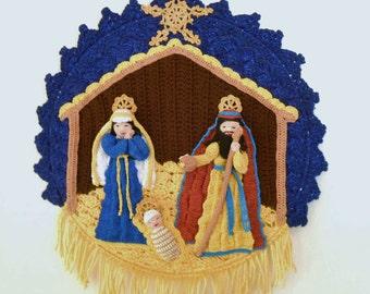 crochet nativity wall hanging, crochet wall art, home decor, Mary, Joseph, baby Jesus, Christmas gift, fiber art, Christmas nativity