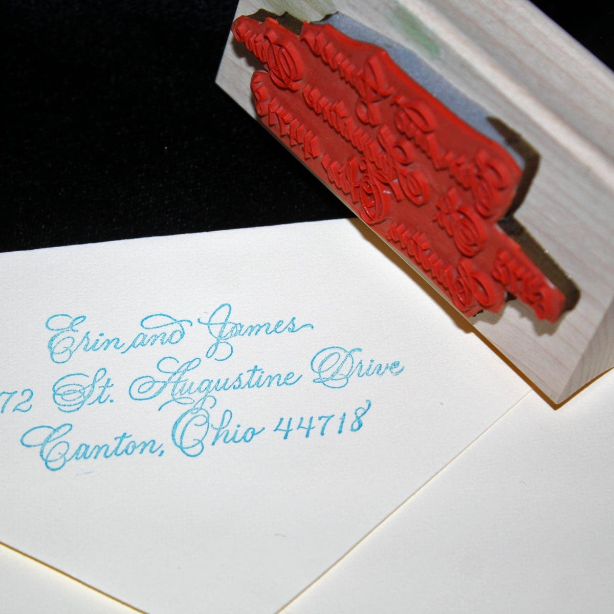 Calligraphy Address Stamp Flourished Spencerian Custom   Etsy