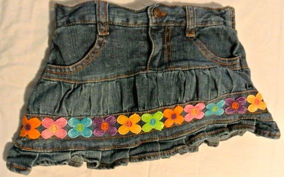 Voodoo Child hand-embellished denim skirt