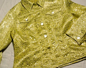 "Vintage shiny lime green and yellow ""jean-style"" jacket"