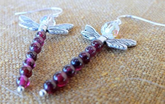 Dragonfly Earrings Dragonflies Hematite Protection Earrings-Root Chakra Earrings