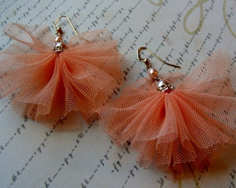 Ballet-tulle and pearl earrings with rhinestones, 3 1/4 inches or 8 cm