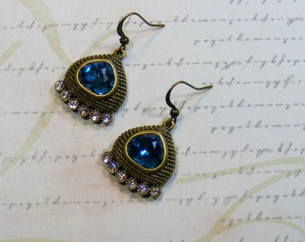 CLEARANCE-Be a Queen-brass earrings, turquoise and clear rhinestones, 1 1/4 inches or 3 cm